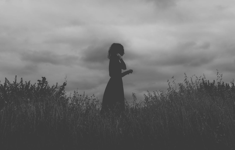 Photo wallpaper girl, field, clouds, black dress