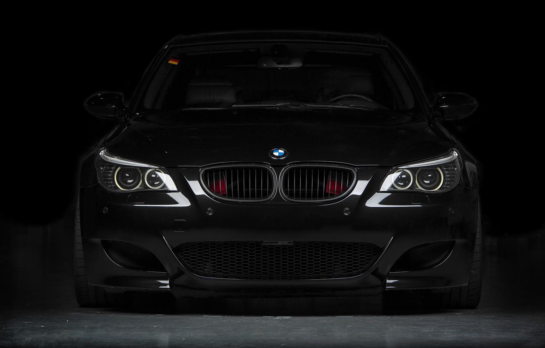 Photo wallpaper black, bmw, BMW, black, the front, e60