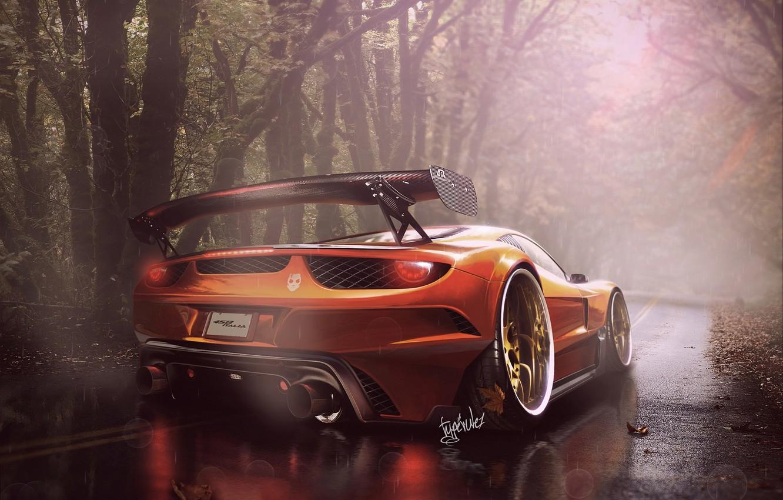 Photo wallpaper Ferrari, Orange, 458, Italia, ART by Typerulez