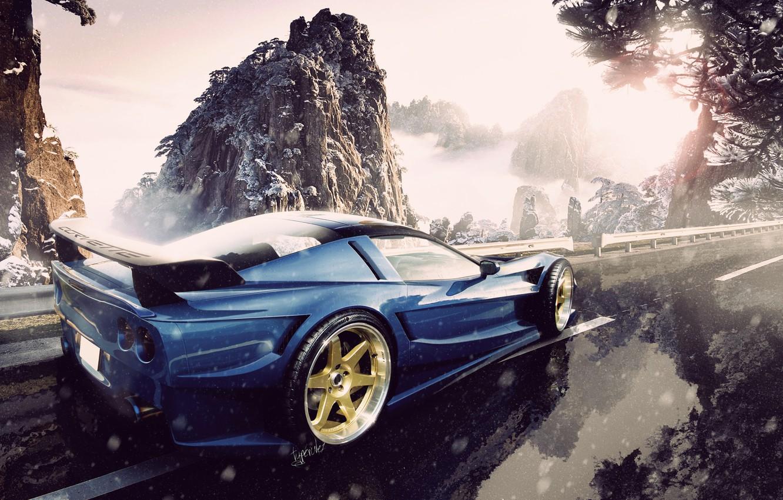 Photo wallpaper road, snow, mountains, corvette, chevrolet