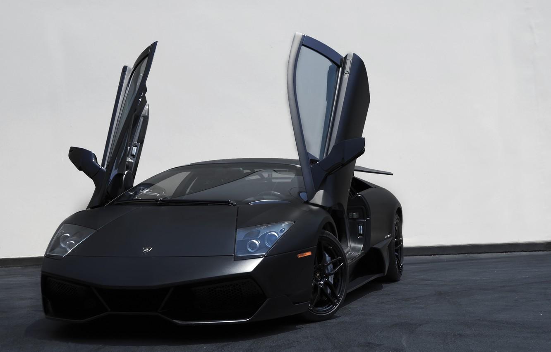 Photo wallpaper black, lamborghini, black, murcielago, the front, Lamborghini, guillotine, doors, Murcielago, lp670-4 sv, white wall