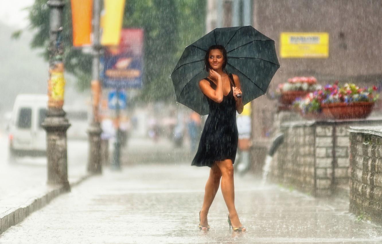 Photo wallpaper Girl, Photo, The city, Smile, Street, Rain, Girl, Wallpaper, Shoes, Umbrella, Dress, City, Brunette, Legs, …