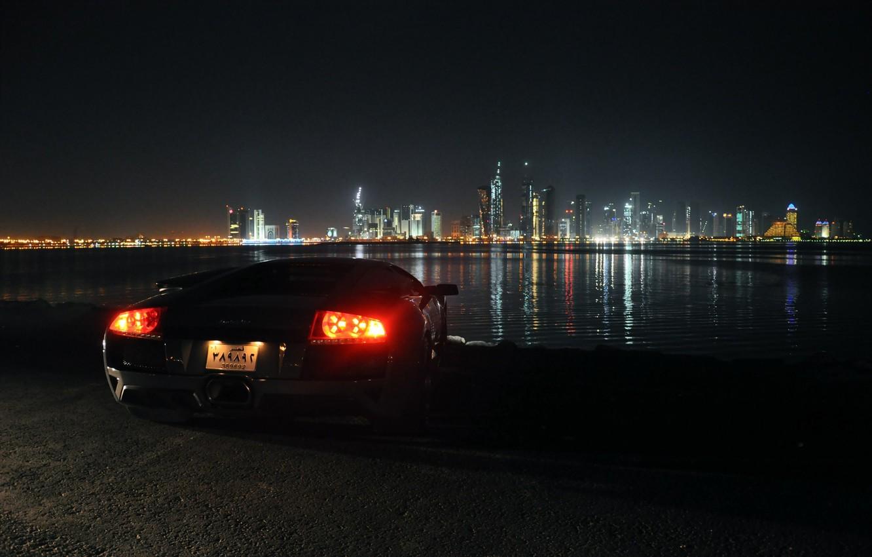 Photo wallpaper night, lights, Lamborghini, Lamborghini, Dubai, Dubai, Murcielago, UAE, view, Supercar, city lights, Murciélago, LP640-4, dimensions