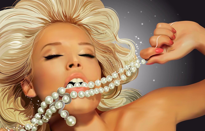 Photo wallpaper vector, blonde, beads