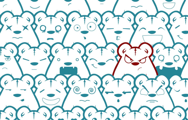 Photo wallpaper character, mood, texture, smiles, bears