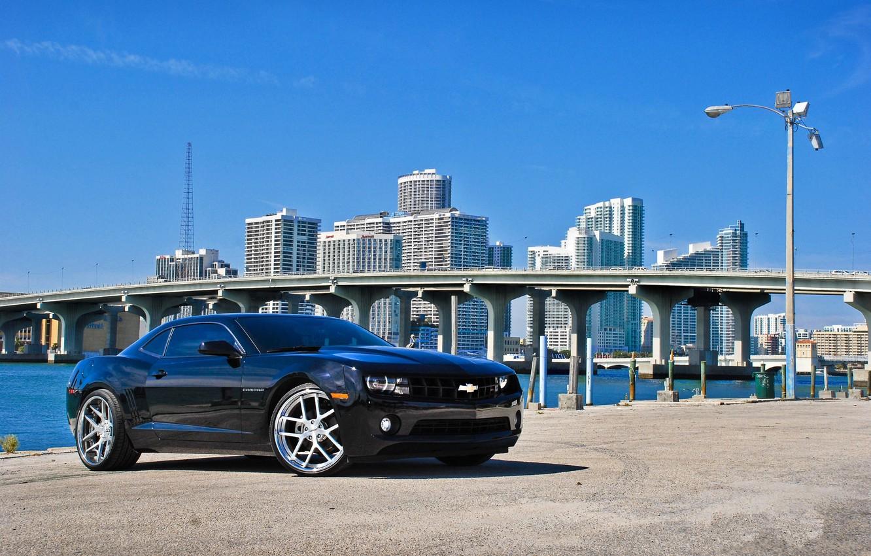 Photo wallpaper bridge, black, building, lantern, black, chevrolet, promenade, florida, Miami, camaro ss, FL, miami, Chevrolet Camaro …