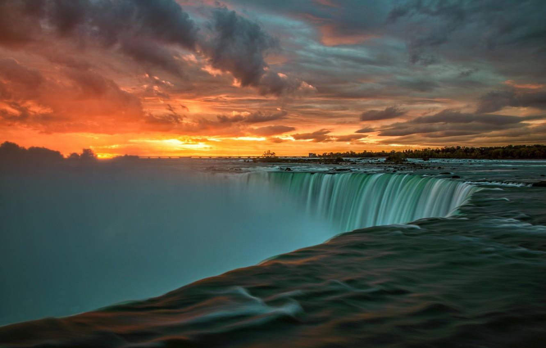 Photo wallpaper sunrise, morning, Canada, Ontario, the Niagara river