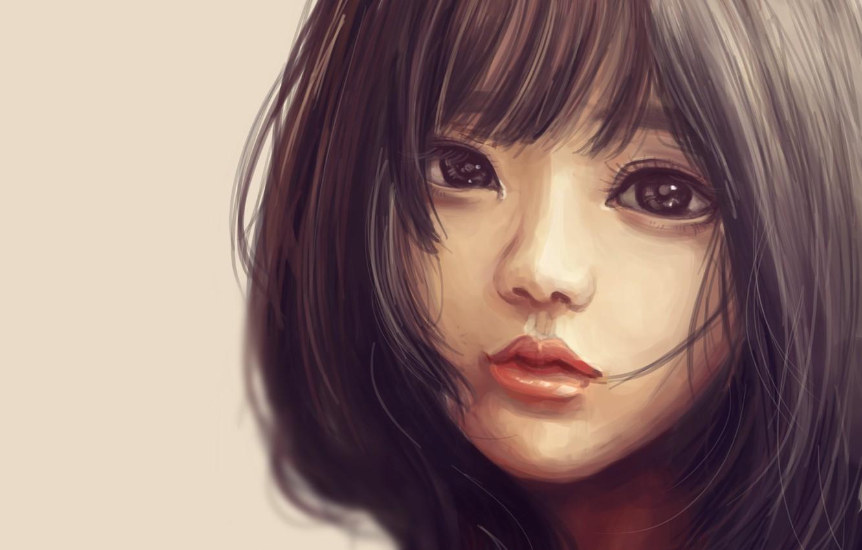 Photo wallpaper girl, haircut, art, Asian, painting, eyes. look
