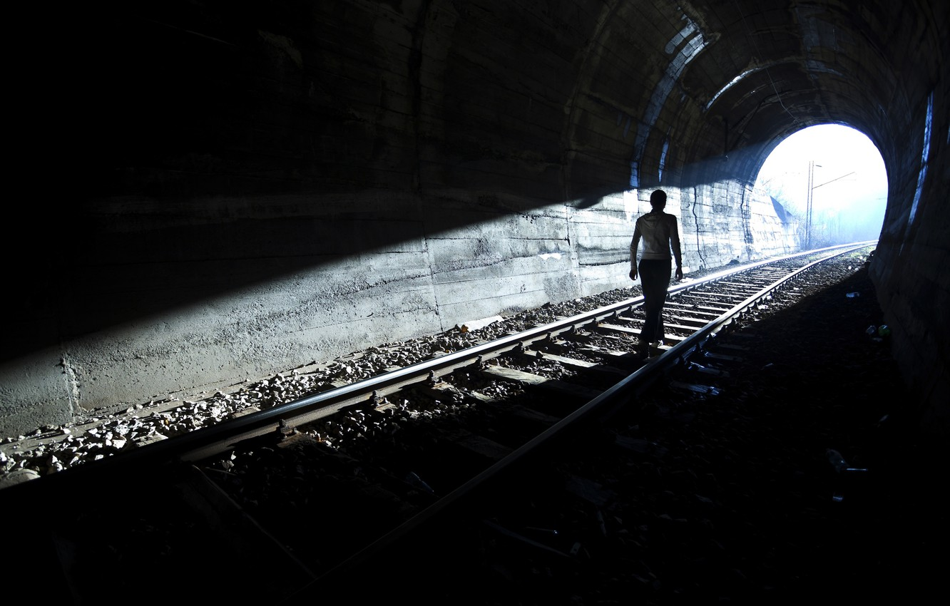 Photo wallpaper light, person, silhouette tunnel, Light at end of tunnel