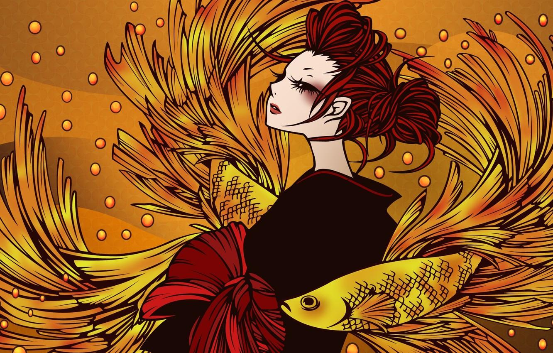 Photo wallpaper girl, fish, anime, art