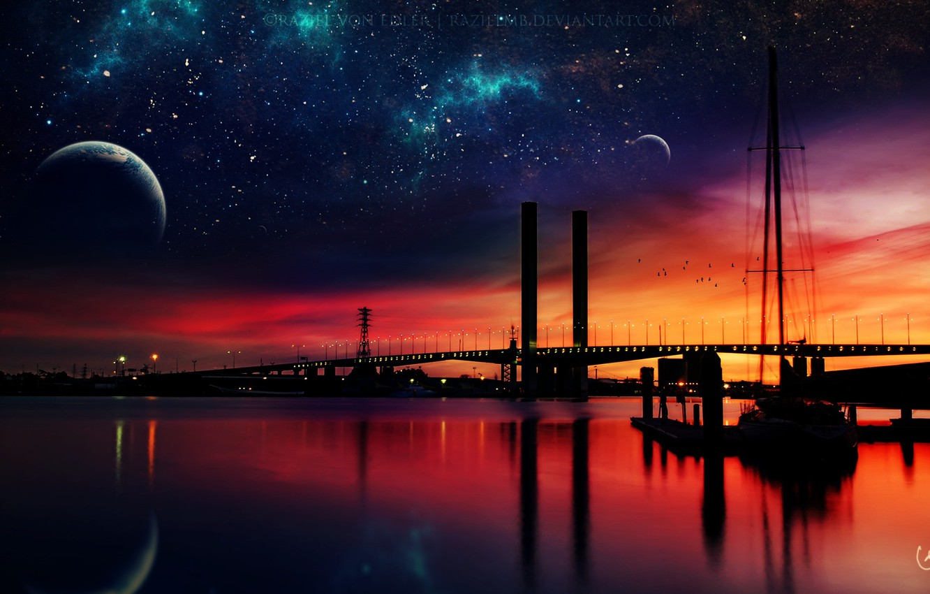 Photo wallpaper stars, night, the city, planet, night, art