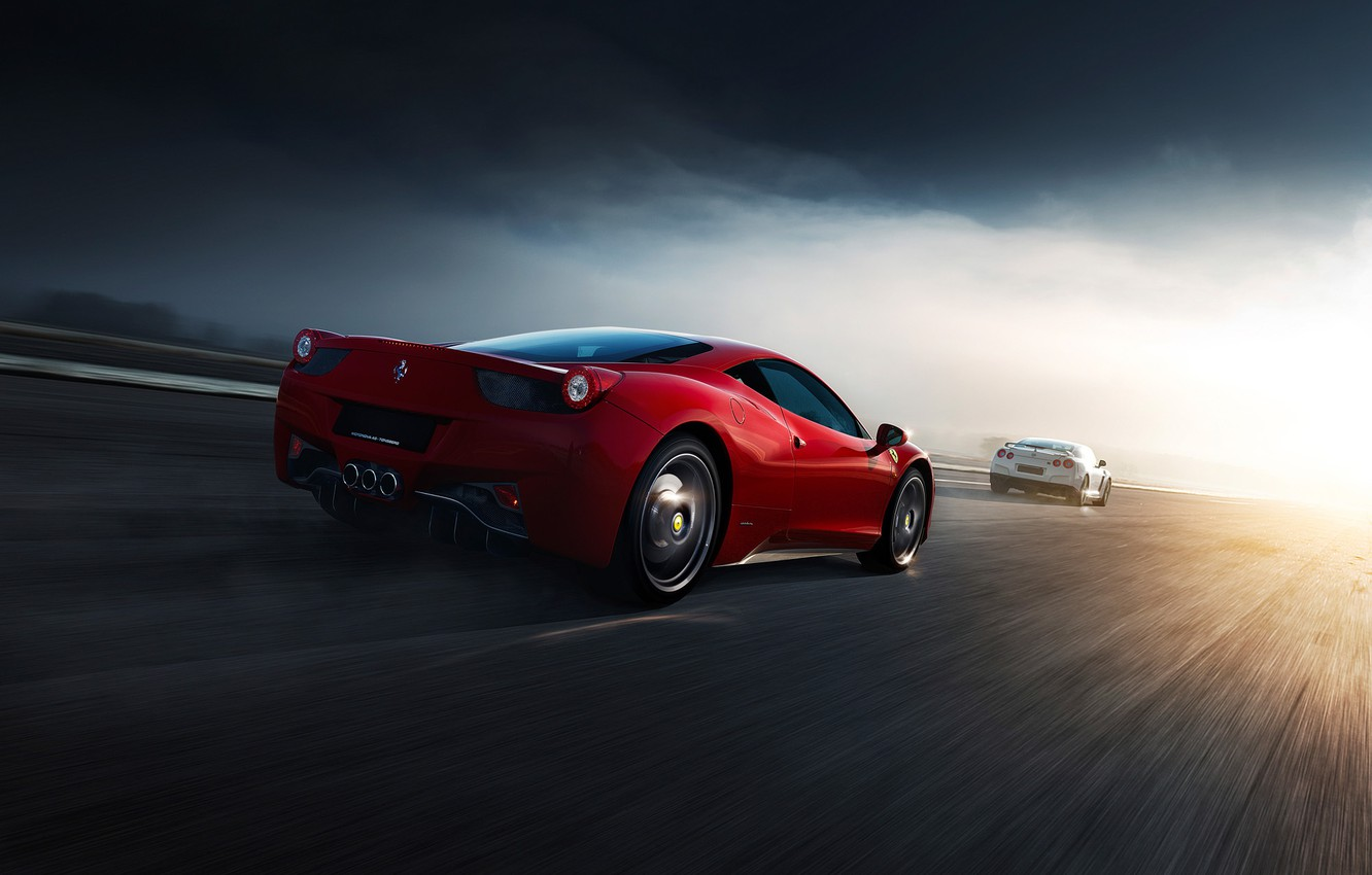 Photo wallpaper Ferrari, Nissan, Red, GT-R, 458, White, Supercars, Norway, R35, Italia, Road, Rear