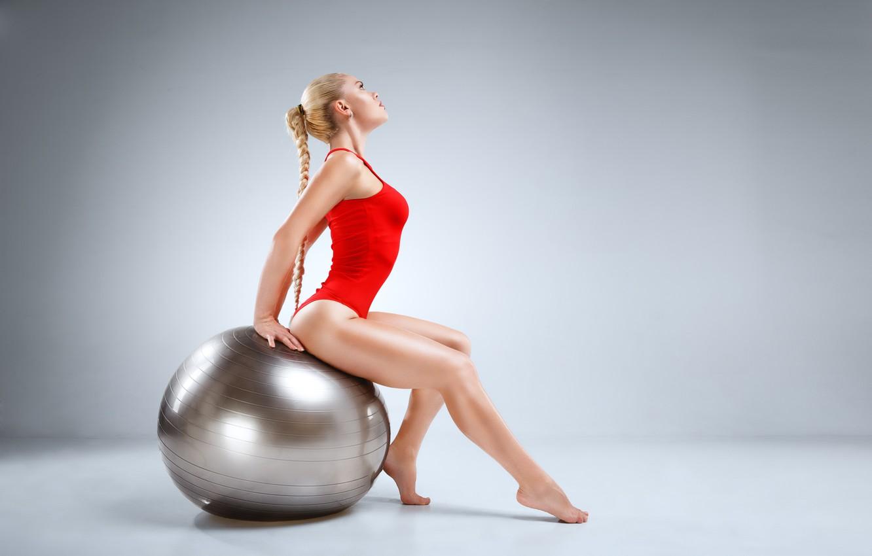 Photo wallpaper blonde, pose, Gymnastics, silver ball