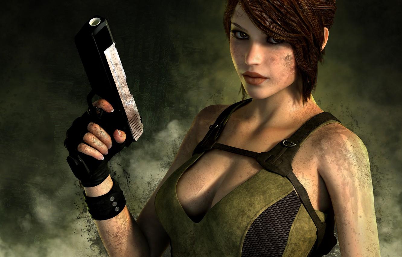 Photo wallpaper look, girl, face, gun, weapons, background, hair, the game, smoke, Mike, gloves, lara croft, tomb …
