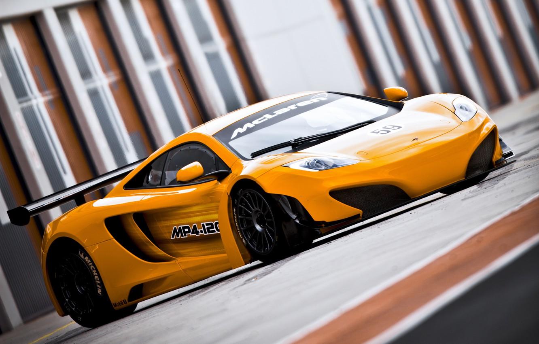 Photo wallpaper McLaren, Machine, Orange, Orange, Car, Race, Car, GT3, MP4-12C, McLaren