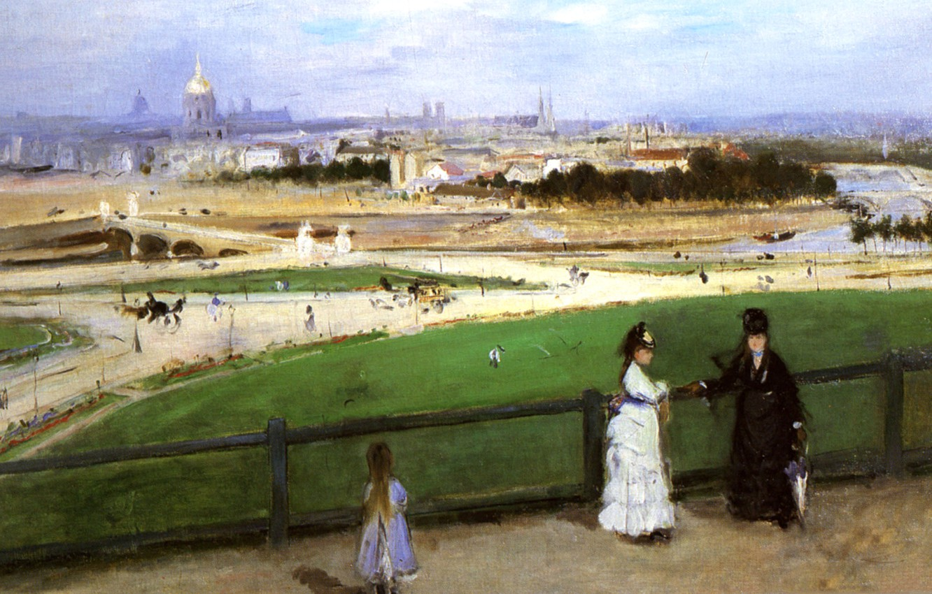 Photo wallpaper landscape, picture, Edouard Manet, Berthe Morisot. View of Paris from the Trocadero Heights