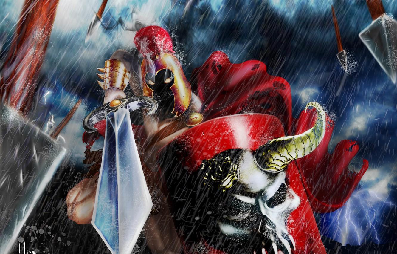 Photo wallpaper rain, skull, sword, armor, Warrior, burning eyes