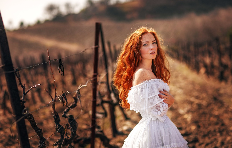 Photo wallpaper Girl, Look, Lips, Face, Dress, White, Redhead, Oksana Butovskaya