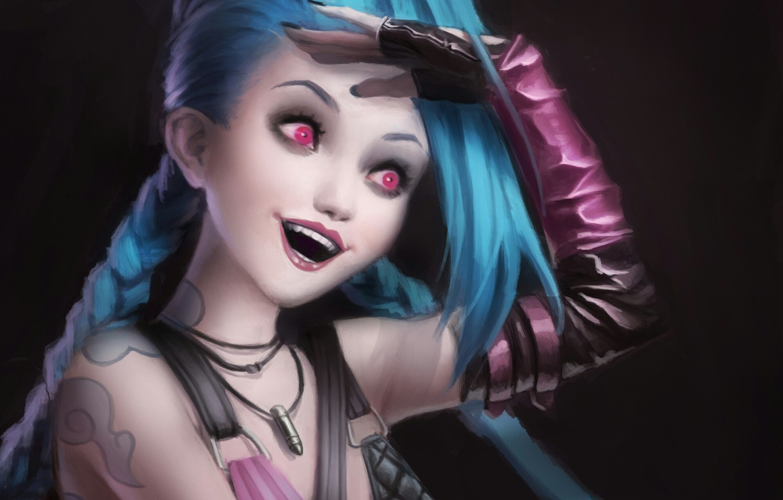 Photo wallpaper girl, smile, art, league of legends, Jinx