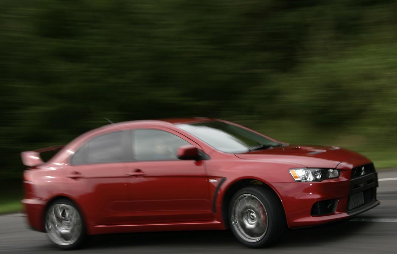 Photo wallpaper red, blur, mountain climb, Mitsubishi Lancer Evo X