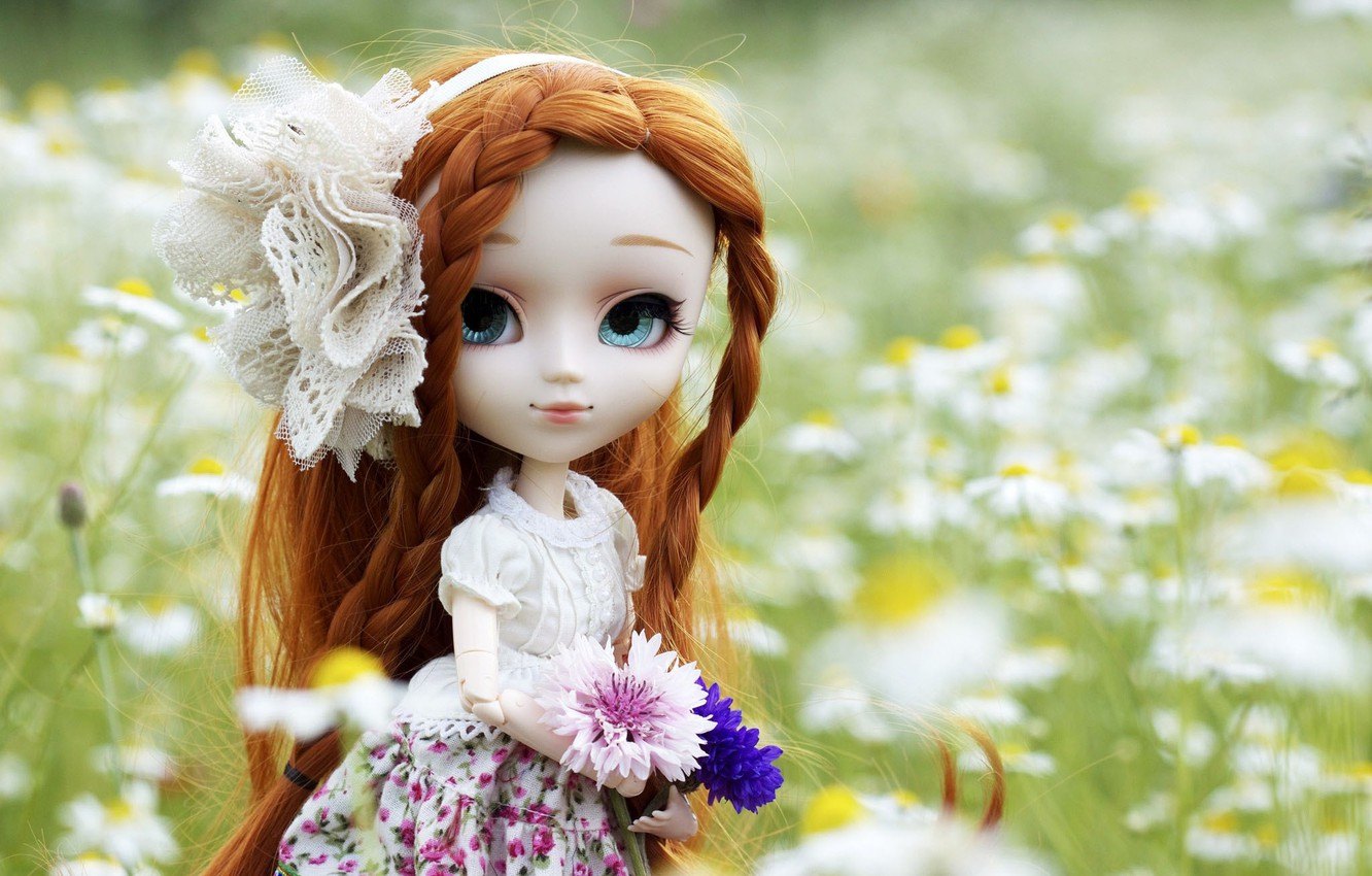 Photo wallpaper flowers, nature, toy, doll, dress, red, bow, braids