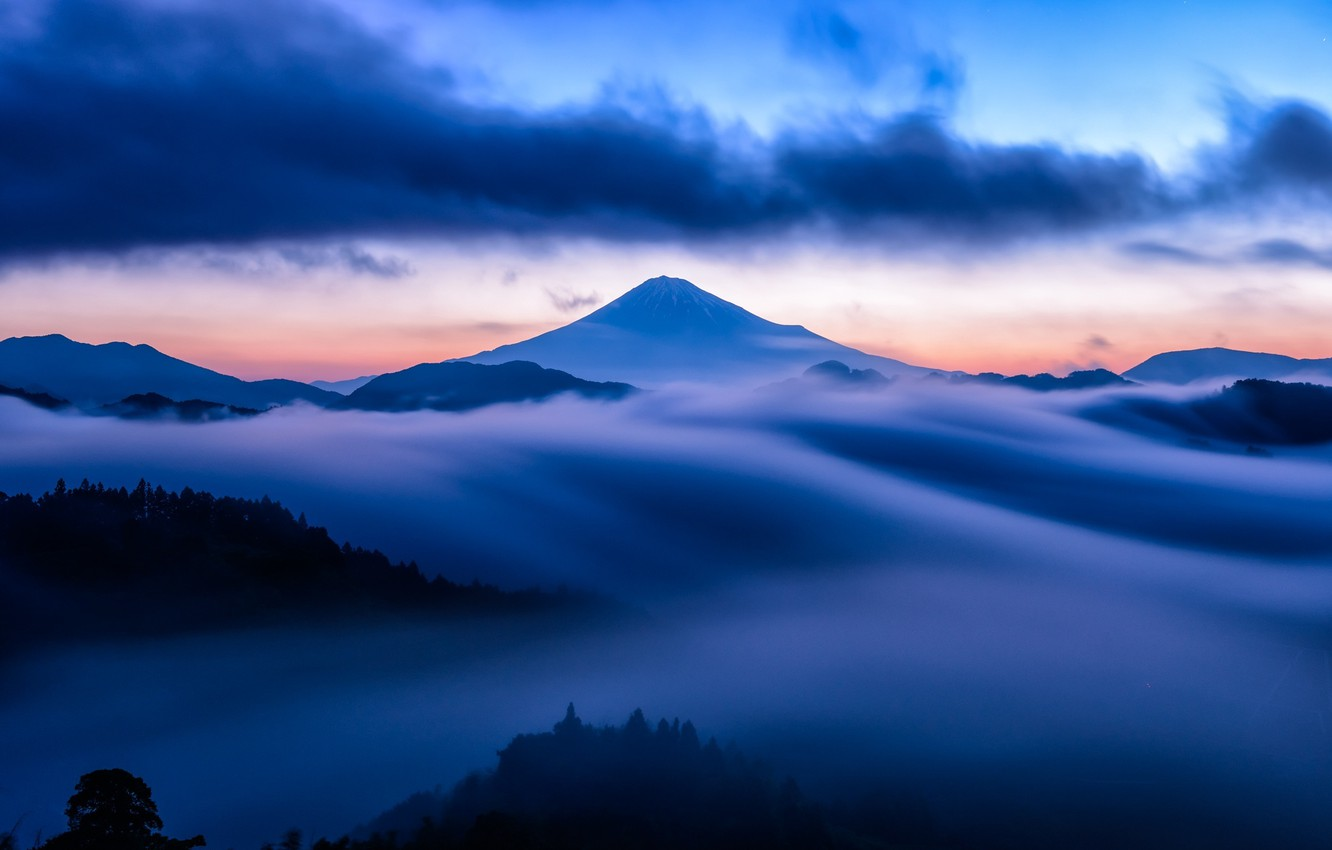 Photo wallpaper the sky, clouds, snow, sunset, fog, blue, mountain, the volcano, top, sky, sunset, blue, clouds, …