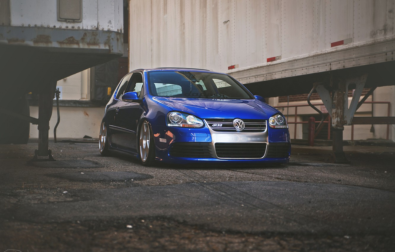 Photo wallpaper blue, tuning, volkswagen, Golf, R32, golf, the front, gti