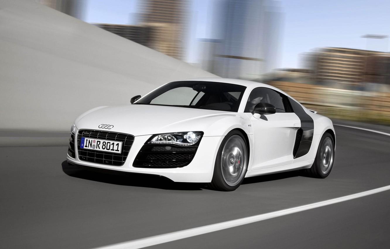 Photo wallpaper Audi, White, Lights, Car, V10, The front, In Motion