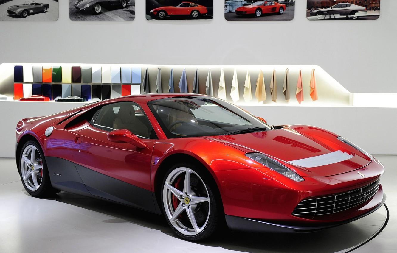 Photo wallpaper red, background, Ferrari, photos, Ferrari, supercar, the front, spec.version, SP12
