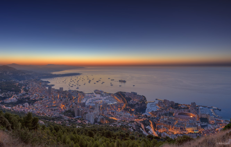 Photo wallpaper sea, landscape, sunset, nature, the city, lights, home, ships, yachts, the evening, port, Monaco, Monaco, …