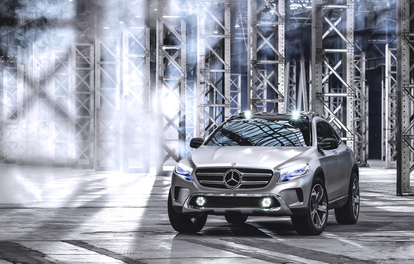 Photo wallpaper Concept, Auto, Logo, Grey, Silver, The hood, Lights, Mercedes Benz, The front, The room, GLA