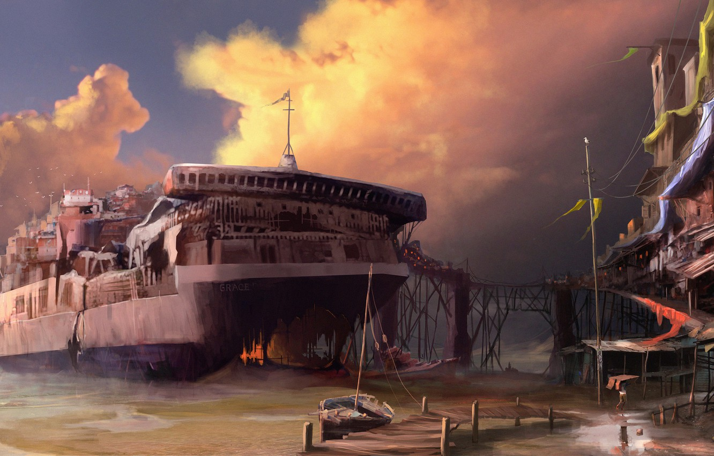 Photo wallpaper sea, clouds, ship, home, sailboat, the skeleton, pierce, tanker, settlement