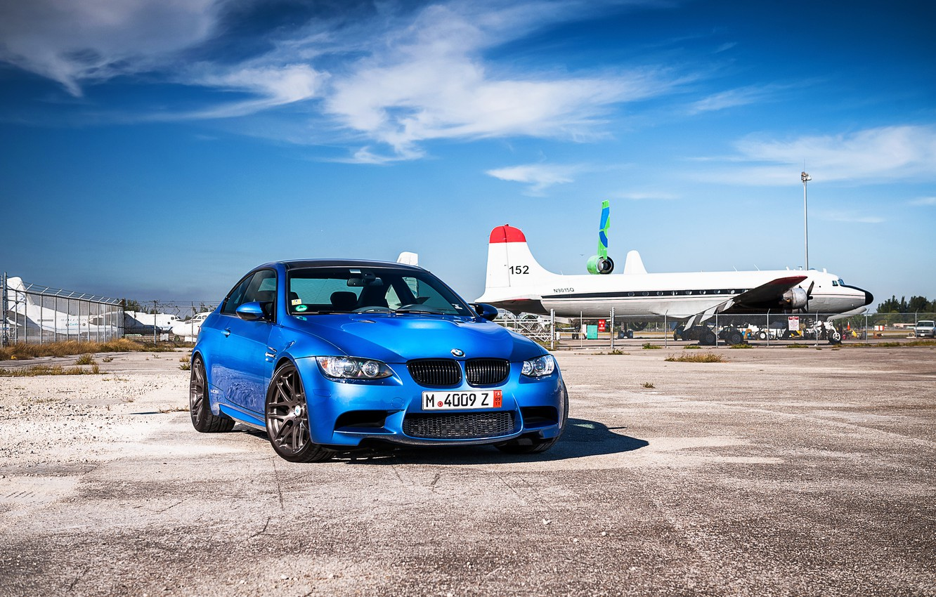 Photo wallpaper blue, bmw, BMW, shadow, blue, the front, aircraft, e92