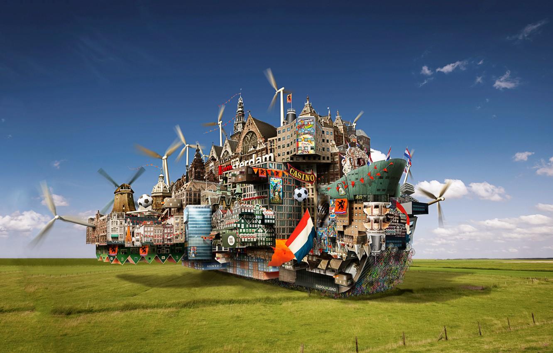 Photo wallpaper field, the city, ship, windmills