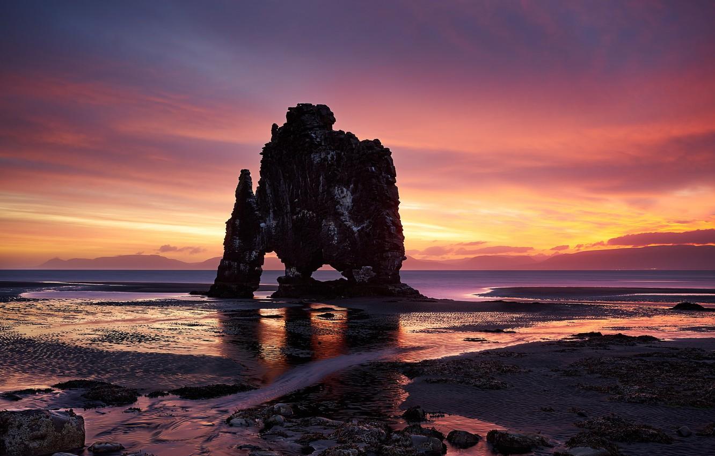 Photo wallpaper water, rock, sunrise, Morning, horizon, Iceland, the sun, Iceland, Vestur-Hunavatnssysla, Zatoka