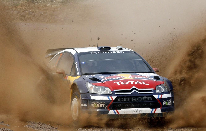 Photo wallpaper Auto, the hood, Sport, Machine, Dirt, Citroen, Lights, Red Bull, WRC, Rally, Rally, The front