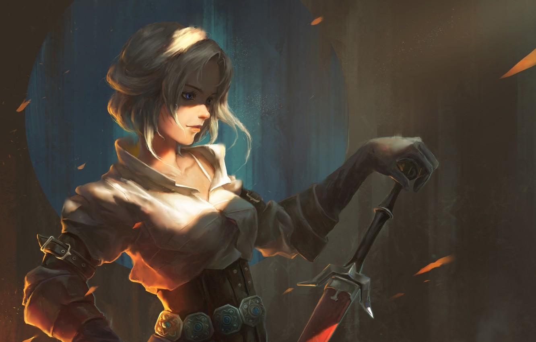 Photo wallpaper girl, sword, art, The Witcher 3: Wild Hunt, witcher 3, The Witcher 3: Wild Hunt, …