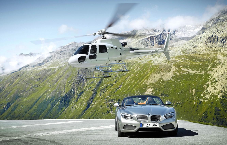 Photo wallpaper Mountains, Rocks, White, BMW, Convertible, Helicopter, Grey, BMW, Zagato, The front