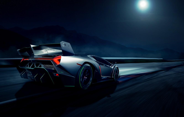 Photo wallpaper movement, the moon, speed, Lamborghini, rear, Veneno