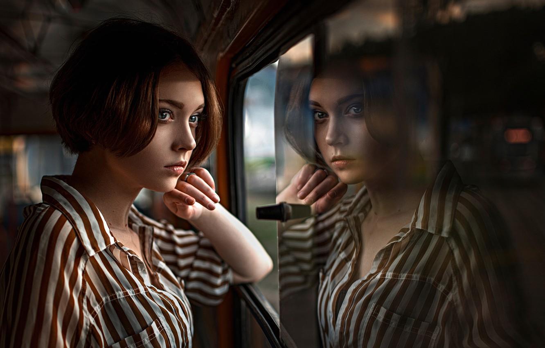 Photo wallpaper reflection, window, Russia, the beauty, Olya, George Chernyadev, Olga Pushkina