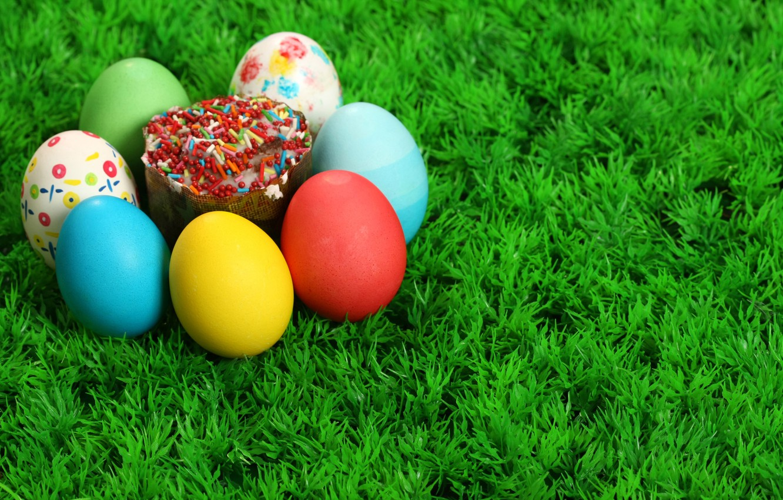 Photo wallpaper Grass, Easter, Eggs, Cake, The Resurrection Of Christ, Pascha
