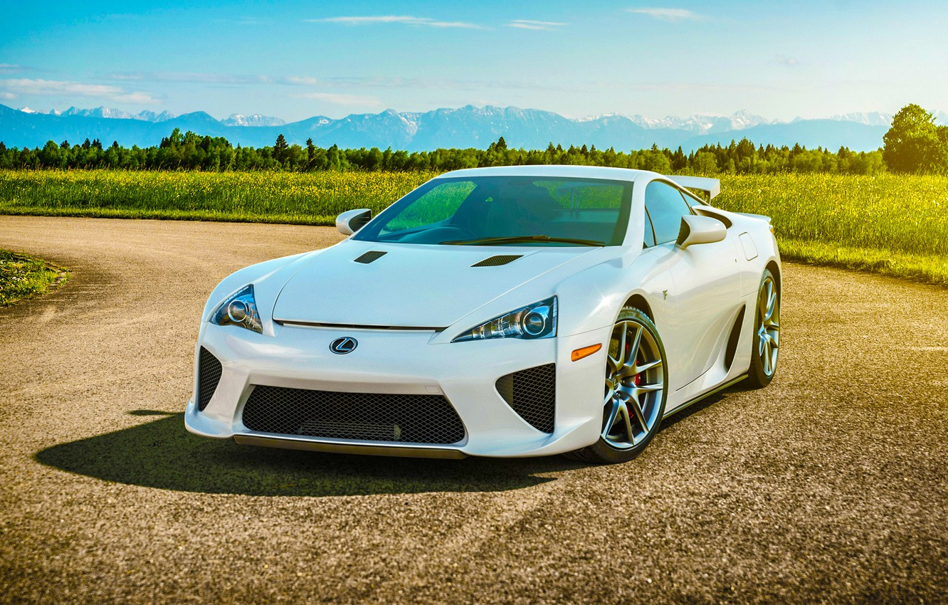 Photo wallpaper Lexus, Nature, Sky, Front, Sun, White, Road, Supercar, LFA, Spoiler