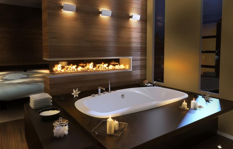 Photo wallpaper design, room, candles, bath, bathroom, fire., desigen, the interior