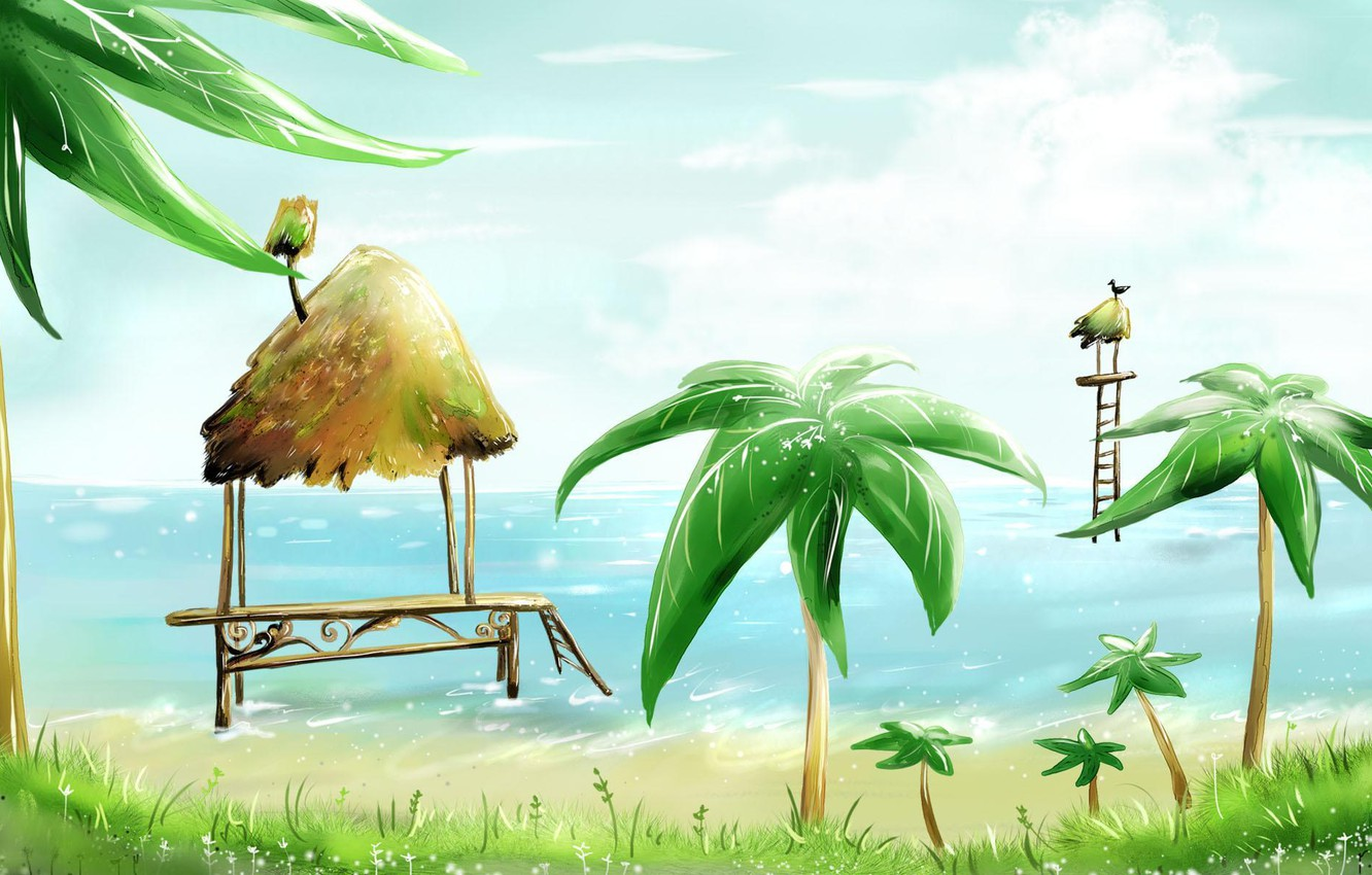 Photo wallpaper sea, beach, palm trees, bird, figure, hut, houses