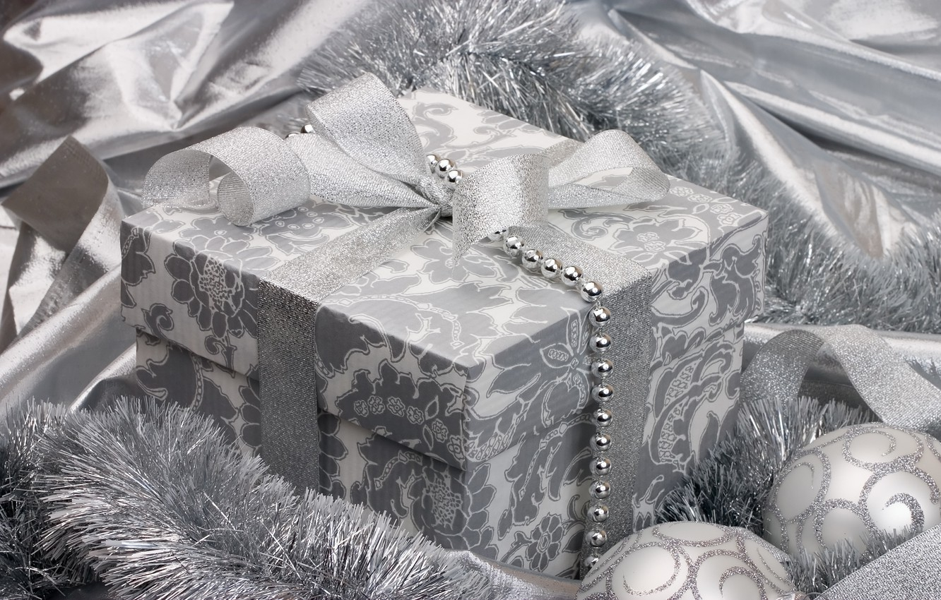 Photo wallpaper holiday, gift, balls, black and white, toys, silver, new year, silver, tape, tinsel, bow, ribbon, …