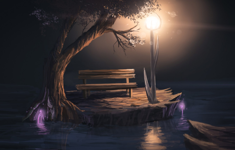 Photo wallpaper light, bench, night, tree, art, lantern