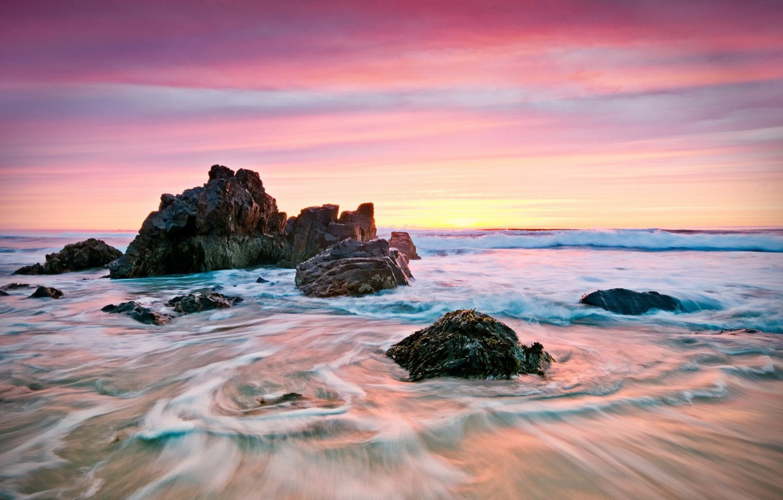 Photo wallpaper sea, stones, shore, morning