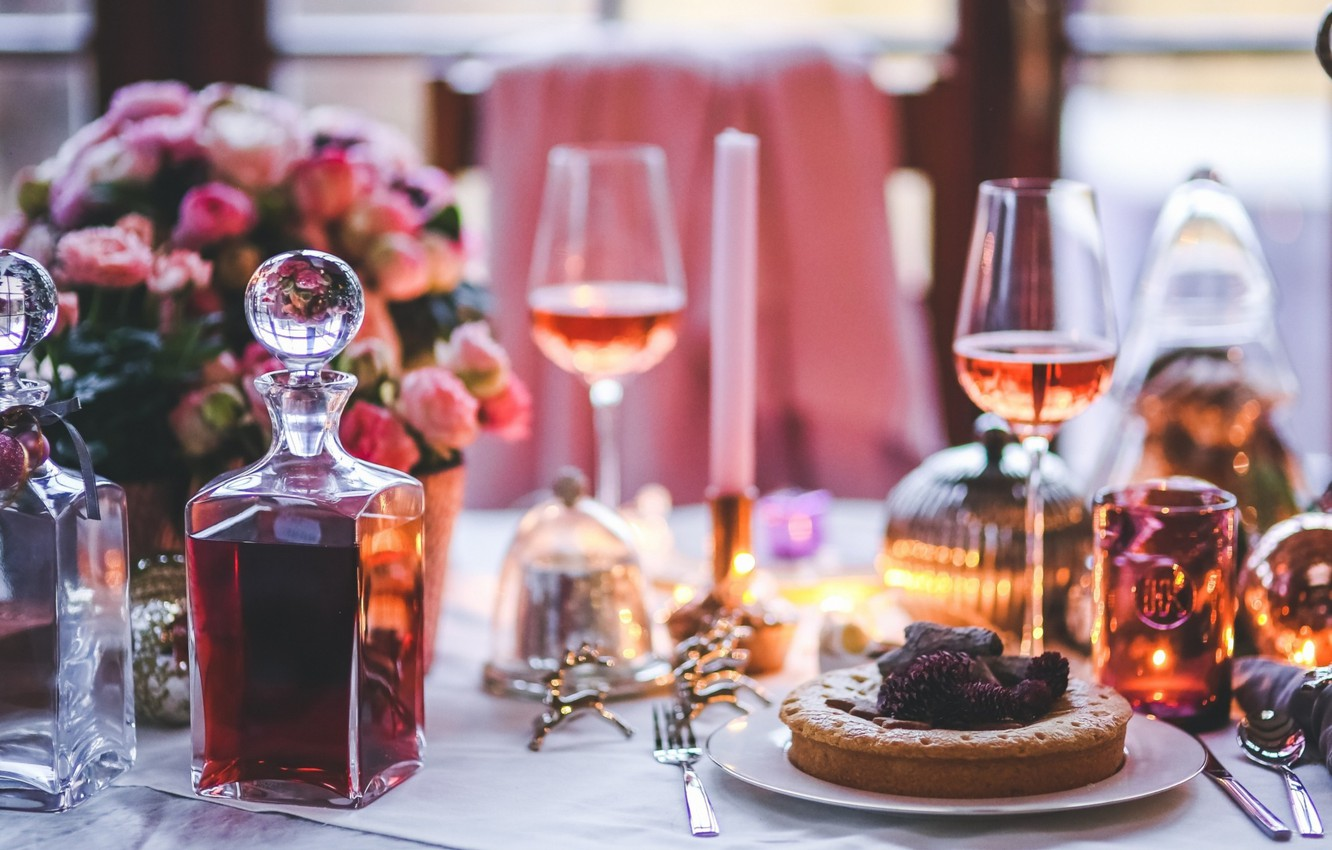 Photo wallpaper holiday, new year, glasses, pie, cognac, decor, serving