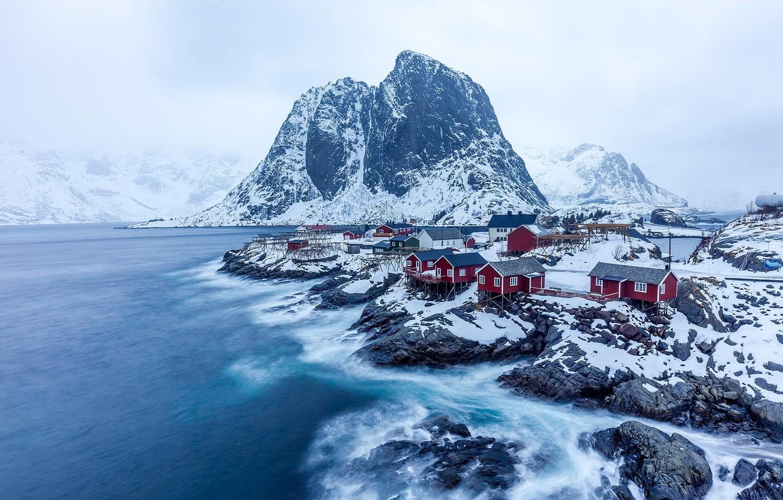 Photo wallpaper winter, snow, mountains, rocks, village, Norway, North