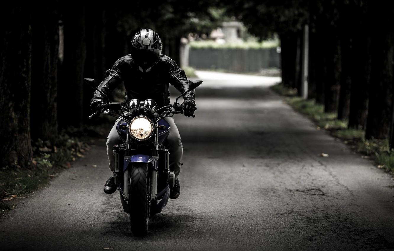 Photo wallpaper road, motorcycle, helmet, biker, bike, biker